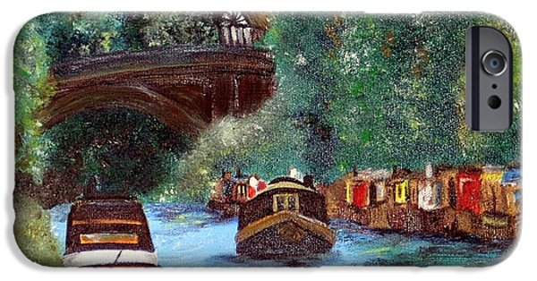Water Vessels Paintings iPhone Cases - A Cheshire Canal Remembered iPhone Case by Lady I F Abbie Shores