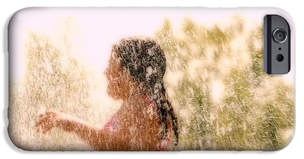 Little Girl iPhone Cases - A Child Plays In The Water iPhone Case by Con Tanasiuk
