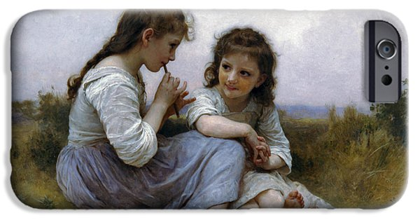 Little Girl iPhone Cases - A Childhood Idyll iPhone Case by William Bouguereau