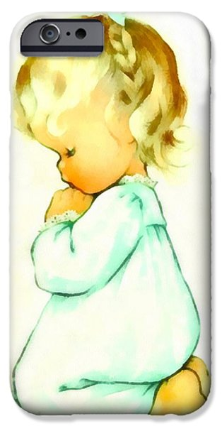 Pajamas iPhone Cases - A Childs Prayer iPhone Case by Charlotte Byj