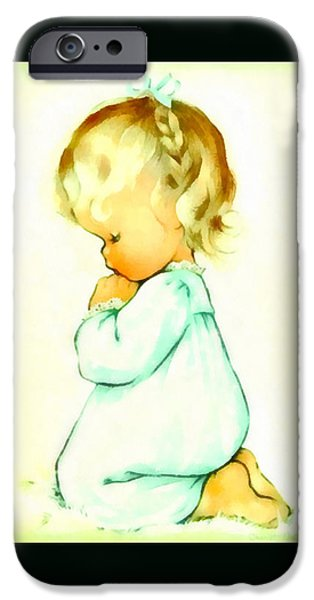 Charlotte Paintings iPhone Cases - A Childs Prayer Duvet iPhone Case by Charlotte Byj