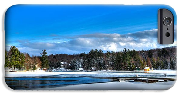 Snowy Day iPhone Cases - A Chilly Day on Old Forge Pond iPhone Case by David Patterson