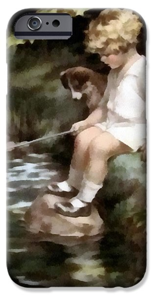 Puppy Digital Art iPhone Cases - A Chip Off The Old Block iPhone Case by Bessie Pease Gutmann