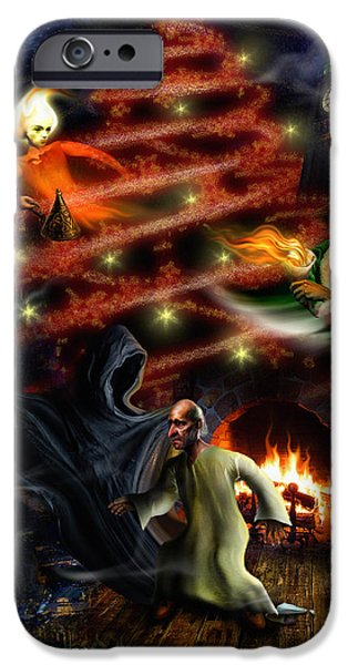 Night Lamp iPhone Cases - A Christmas Carol iPhone Case by Alessandro Della Pietra