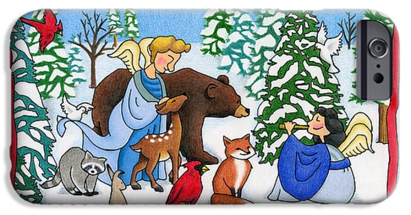 Snowy Drawings iPhone Cases - A Christmas Scene 2 iPhone Case by Sarah Batalka