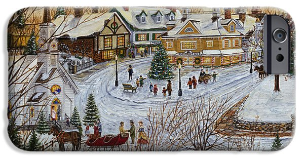 Covered Bridge iPhone Cases - A Christmas Village iPhone Case by Doug Kreuger