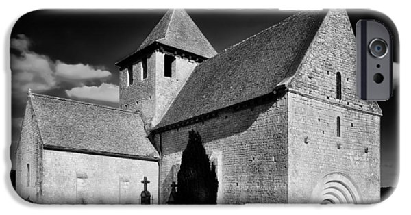 Headstones iPhone Cases - A Church in Rural France iPhone Case by Mountain Dreams