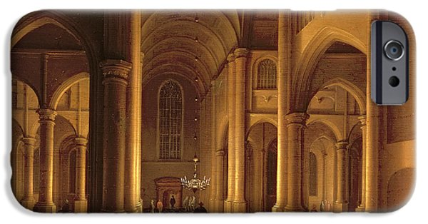 Chandelier iPhone Cases - A Church Interior iPhone Case by Anthonie de Lorme