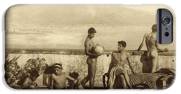 Homo-erotic iPhone Cases - A Classical Scene in Tierra del Fuego South America iPhone Case by Wilhelm von Gloeden