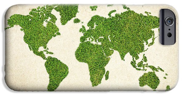 Waste iPhone Cases - World Grass Map iPhone Case by Aged Pixel