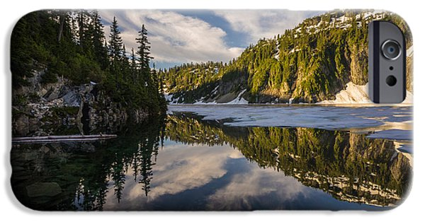Snow iPhone Cases - A Clear Alpine Lake Morning iPhone Case by Mike Reid