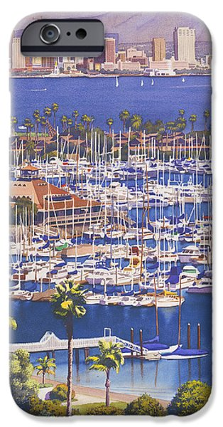 Downtown iPhone Cases - A Clear Day in San Diego iPhone Case by Mary Helmreich
