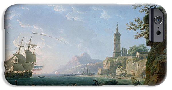 Sailing iPhone Cases - A Coastal Mediterranean Landscape iPhone Case by Claude Joseph Vernet
