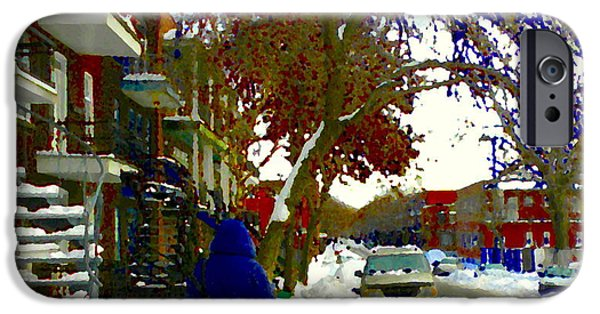 Snowy Day iPhone Cases - A Cold Day In Verdun Winter Scene Walking Home Streets Of Montreal City Scenes Carole Spandau iPhone Case by Carole Spandau