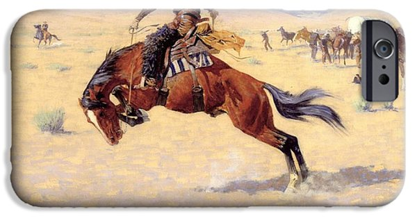 Remington Digital iPhone Cases - A Cold Morning on The Range  iPhone Case by Frederic Remington