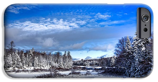 Snow Scene iPhone Cases - A Cold Winter Day at the Green Bridge iPhone Case by David Patterson