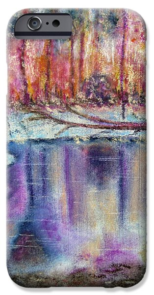 Winter Scene Pastels iPhone Cases - A Cold Winters Pond iPhone Case by Callan Percy
