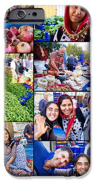 Fresh Produce iPhone Cases - A Collage of the Fresh Market in Kusadasi Turkey iPhone Case by David Smith