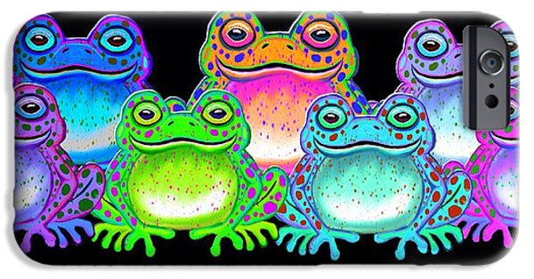Amphibians Digital Art iPhone Cases - A colorful collection of spotted frogs iPhone Case by Nick Gustafson