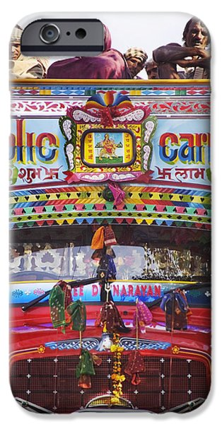 Mature Adult iPhone Cases - A Colorful Public Bus In Rajasthan iPhone Case by Alan Williams