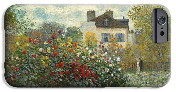 Figures Paintings iPhone Cases - A Corner of the Garden with Dahlias iPhone Case by Claude Monet
