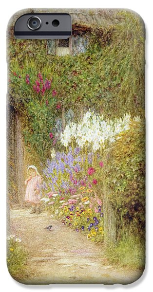 Pansy iPhone Cases - A cottage at Redlynch iPhone Case by Helen Allingham
