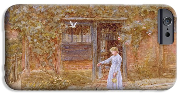 Feeding Young iPhone Cases - A Cottage At Shere, C.1875 Wc On Paper iPhone Case by Helen Allingham