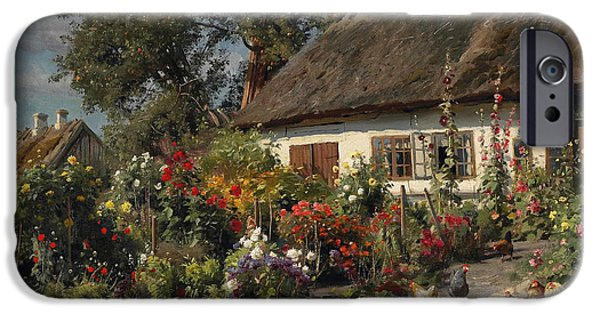 Recently Sold -  - Birds iPhone Cases - A Cottage Garden with Chickens iPhone Case by Peder Mork Monsted
