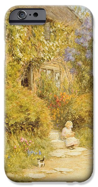 Somerset iPhone Cases - A Cottage Near Crewkerne Wc On Paper iPhone Case by Helen Allingham
