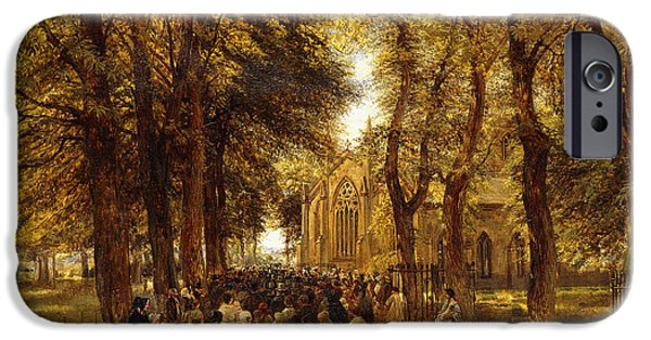 19th Century Paintings iPhone Cases - A Country Wedding iPhone Case by Charles Thomas Burt