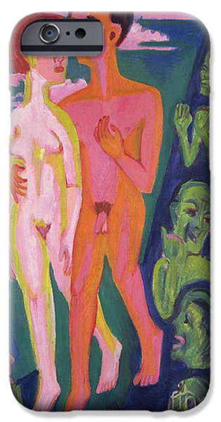 Abstract Expressionist iPhone Cases - A Couple in Front of a Crowd iPhone Case by Ernst Ludwig Kirchner