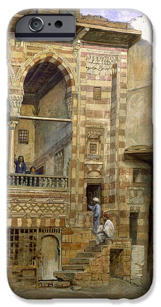 Egypt iPhone Cases - A Courtyard in Cairo iPhone Case by Frank Dillon