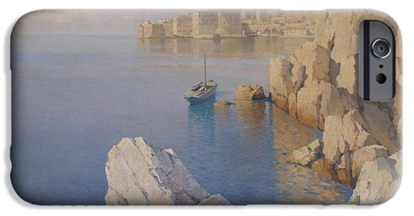 Russia Paintings iPhone Cases - A Cove in Dubrovnik iPhone Case by Celestial Images