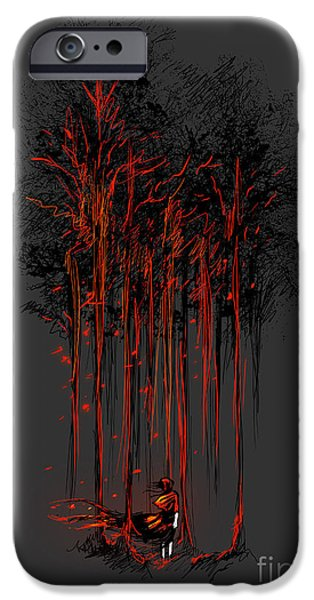 Macabre iPhone Cases - A crimson retaliation iPhone Case by Budi Kwan