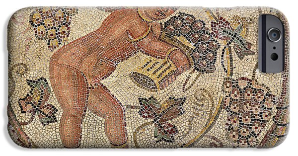 Flooring iPhone Cases - A Cupid Picking Grapes, Fragment Of Pavement From Carthage, Tunisia Mosaic iPhone Case by Roman