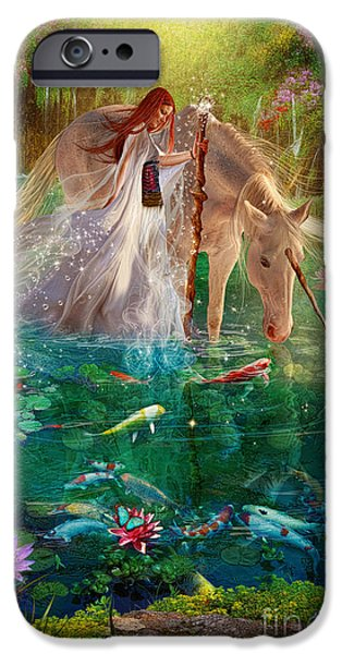 Unicorn Art iPhone Cases - A Curious Introduction iPhone Case by Aimee Stewart