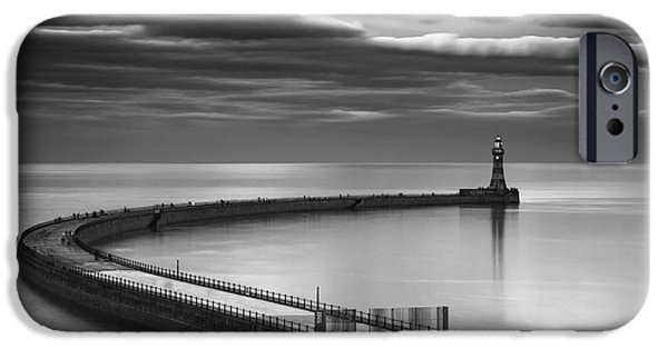 The White House Photographs iPhone Cases - A Curving Pier With A Lighthouse At The iPhone Case by John Short