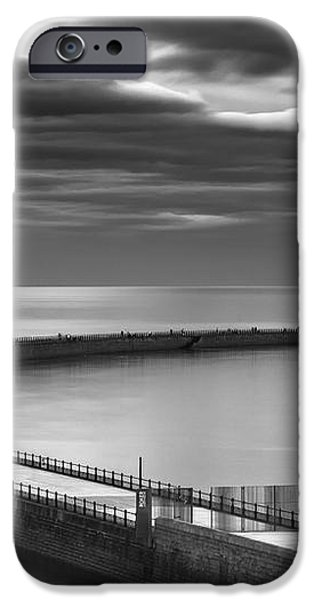 A Curving Pier With A Lighthouse At The iPhone Case by John Short