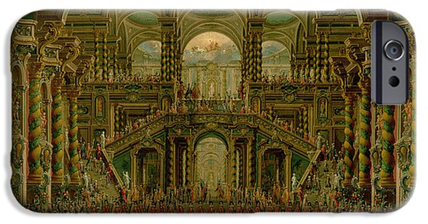 Ceremony iPhone Cases - A Dance In A Baroque Rococo Palace Oil On Canvas iPhone Case by Francesco Battaglioli