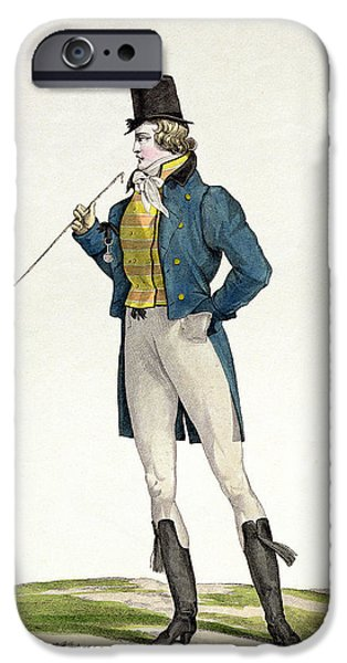 Posing iPhone Cases - A Dandy in a Robinson hat iPhone Case by Antoine Charles Horace Vernet