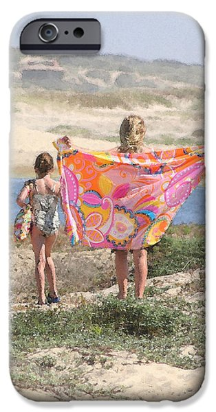 Beach Towel iPhone Cases - A Day at the Beach iPhone Case by Art Block Collections