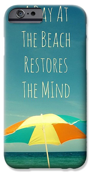 With Pyrography iPhone Cases - A Day At The Beach Restores The Mind  iPhone Case by Maya Nagel