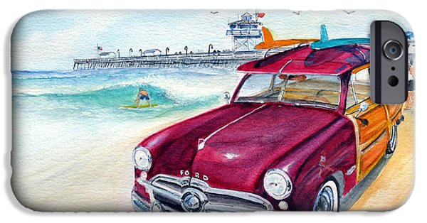 Clemente Paintings iPhone Cases - A Day at the Beach with my 49 Ford woody iPhone Case by Rob Beilby