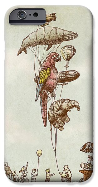 Animal Drawings iPhone Cases - A Day at the Fair iPhone Case by Eric Fan