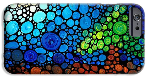 Tree Art Print iPhone Cases - A Day To Remember - Mosaic Landscape by Sharon Cummings iPhone Case by Sharon Cummings