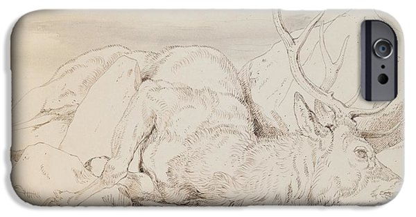 Ink On Paper iPhone Cases - A Dead Stag iPhone Case by Sir Edwin Landseer
