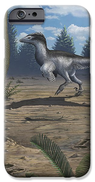 A Deinonychosaur Leaves Tracks iPhone Case by Emily Willoughby