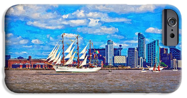 Tall Ship Mixed Media iPhone Cases - A digitally constructed painting of a tall ship on the River Mersey iPhone Case by Ken Biggs