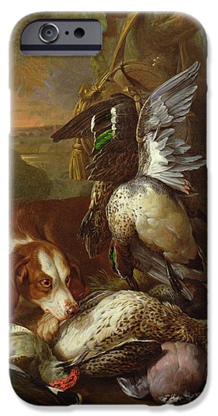 Hound iPhone Cases - A Dog Guarding Game Oil One Of A Pair, See Also 40086 iPhone Case by Alexandre-Francois Desportes