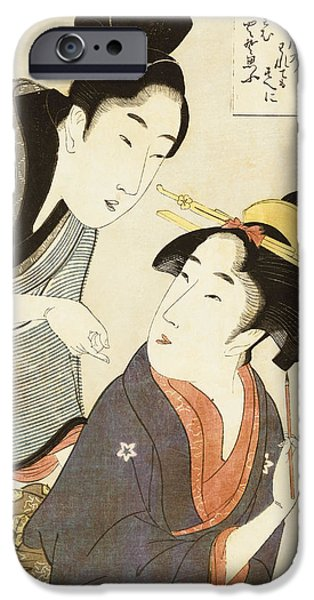 A Double Half Length Portrait of a Beauty and her Admirer  iPhone Case by Kitagawa Utamaro
